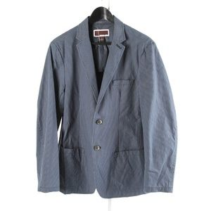 MICHAEL KORS – Mens Blue Striped Cotton Blazer: S